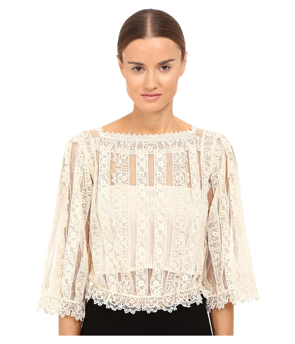 RED VALENTINO - Point D'Esprit Macrame Ribbons Blouse (Ivory) Women's Blouse