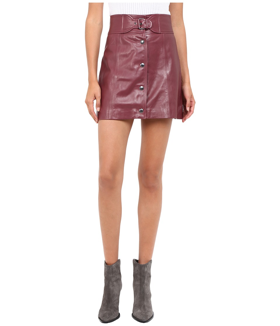 RED VALENTINO - Leather Skirt (Burgundy) Women's Skirt