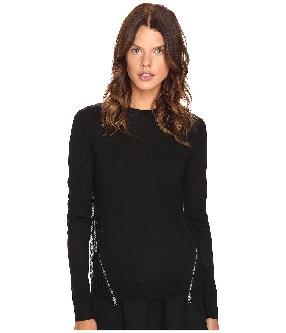 McQ - Fabric Mix Crew Neck (Darkest Black) Women's Clothing