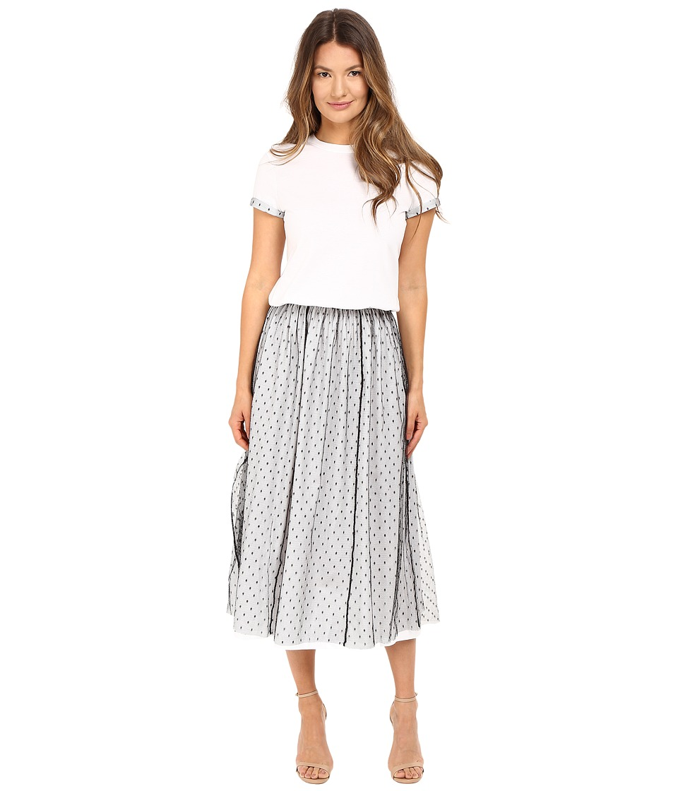RED VALENTINO - Light Cotton Jersey Point D'Esprit Dress (Black/White) Women's Dress