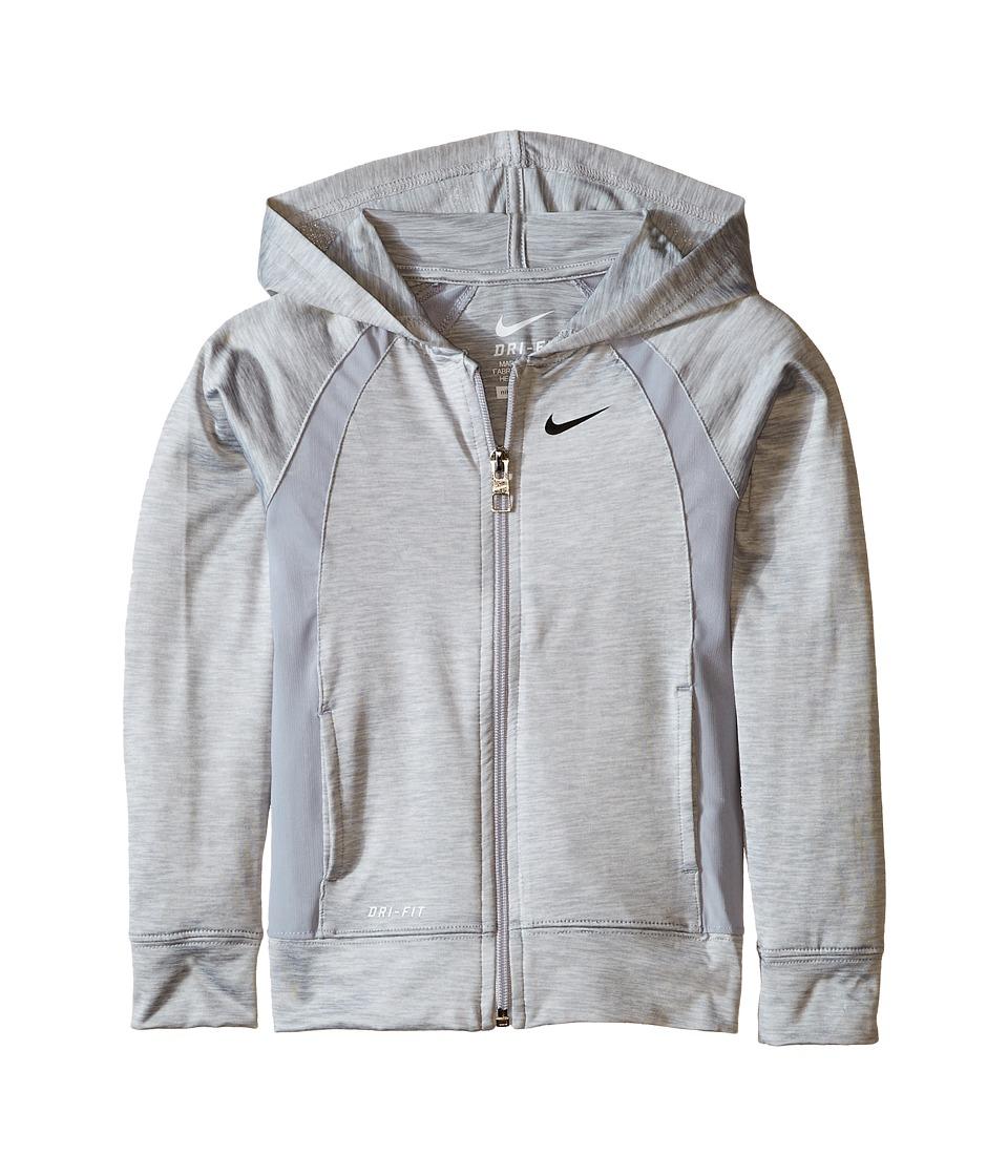 Nike Kids - Dri-FIT Lightweight Sport Essentials F/S Hoodie (Toddler) (Wolf Grey) Girl's Sweatshirt
