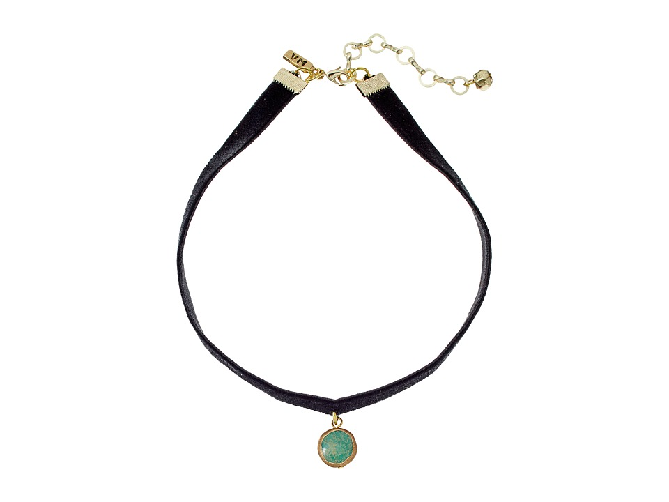 Vanessa Mooney - Black Velvet Choker with Small Circle Turquoise Charm Necklace (Brass) Necklace