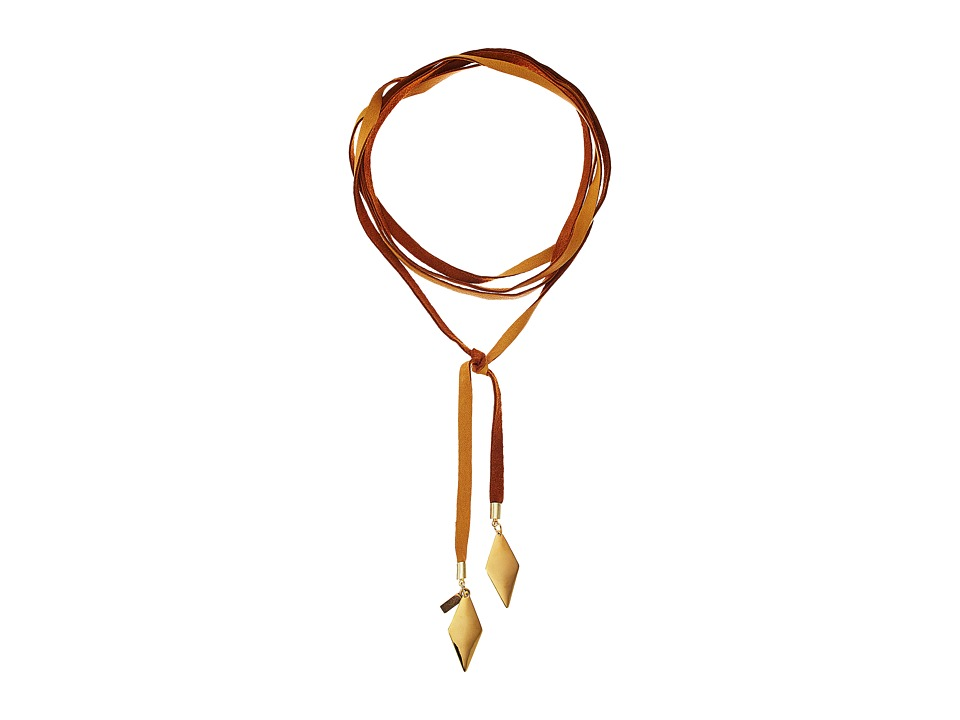 Vanessa Mooney - Tan Leather Bolo with Gold Flat Diamond Necklace (Gold) Necklace