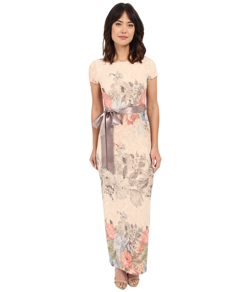Adrianna Papell - Matelasse Column Gown (Blush Multi) Women's Dress