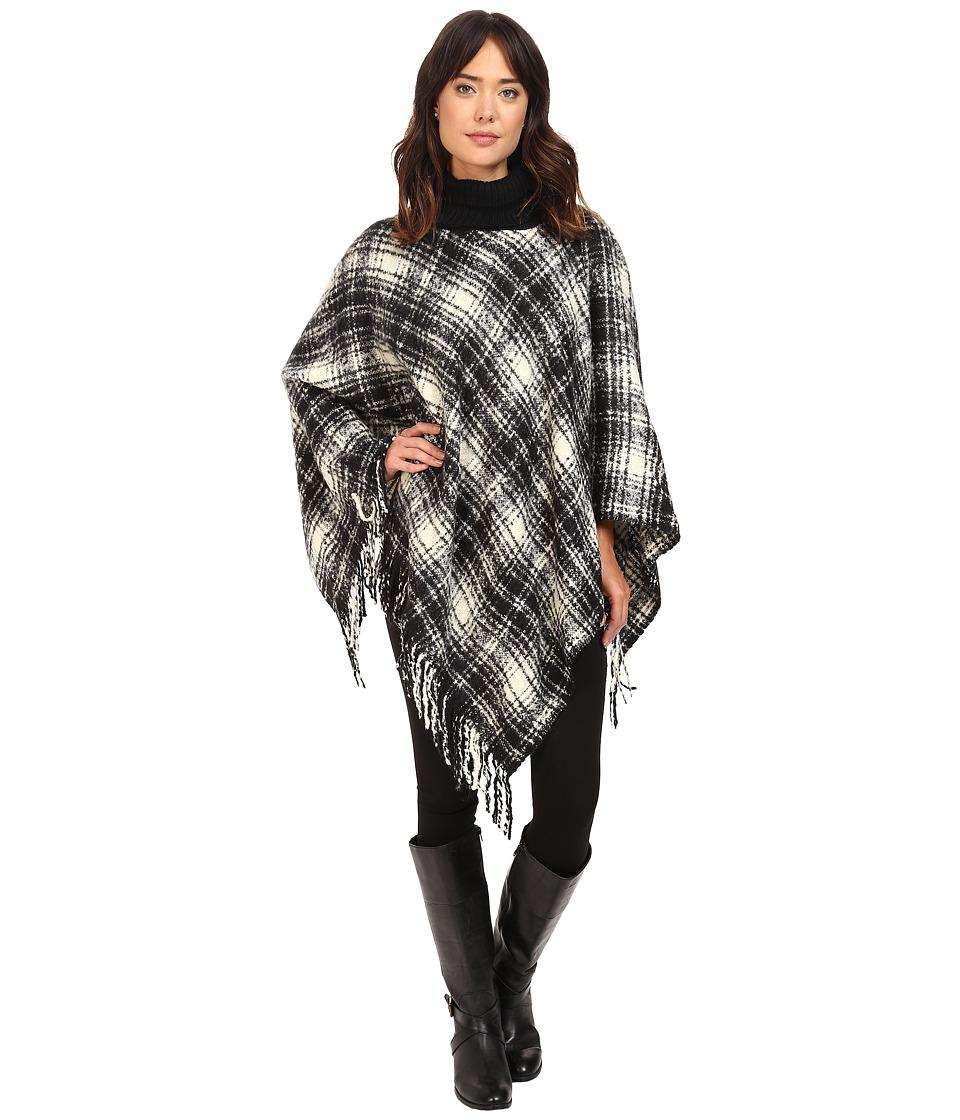 LAUREN Ralph Lauren - Tartan Triangle Poncho (Black/Ivory Tartan) Women's Sleeveless