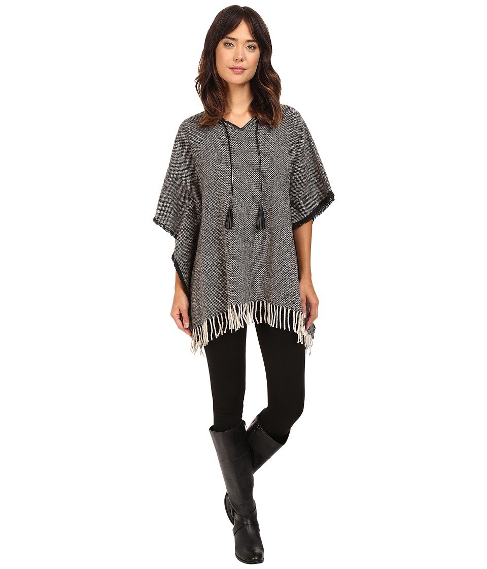 LAUREN Ralph Lauren - Tweed Fringed Poncho (Black/Cream Donegal) Women's Sleeveless