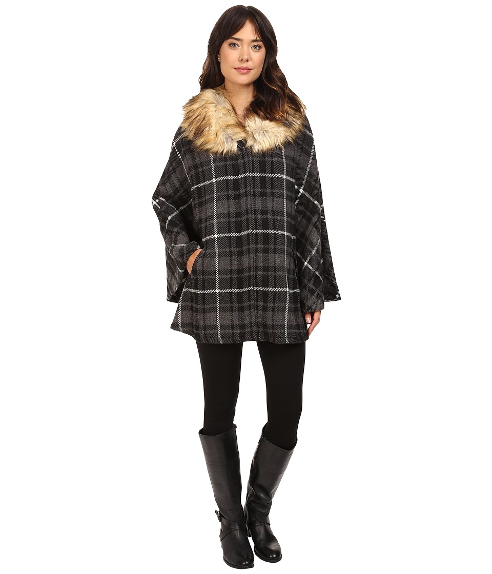 LAUREN Ralph Lauren - Plaid Ruana w/ Faux Fur Collar (Black Tonal Plaid) Women's Long Sleeve Pullover