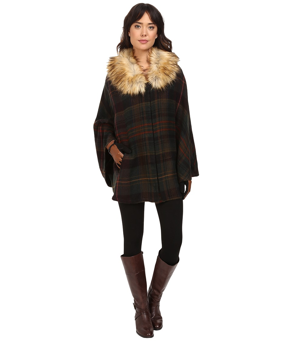 LAUREN Ralph Lauren - Plaid Ruana w/ Faux Fur Collar (Olive Multi Plaid) Women's Long Sleeve Pullover