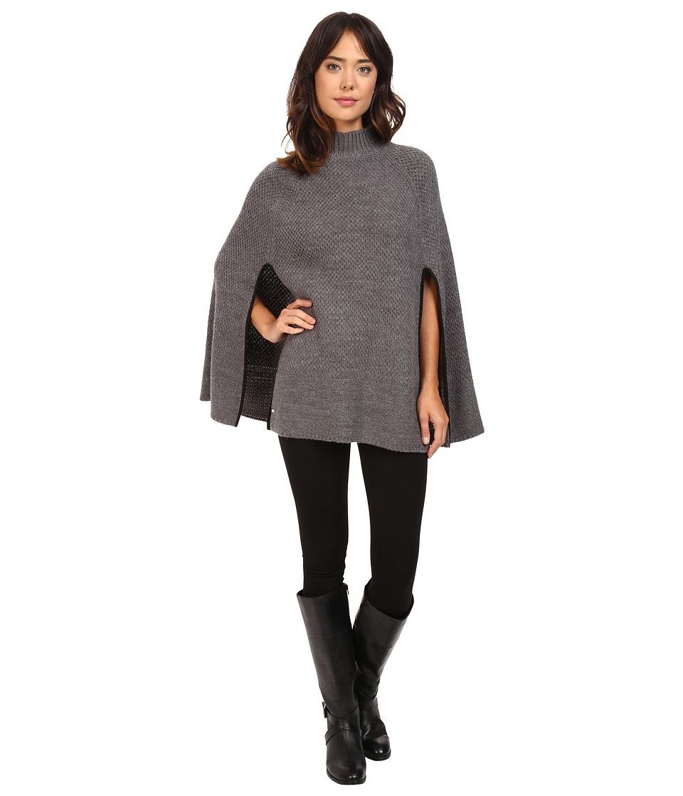 LAUREN Ralph Lauren - Turtleneck Honeycomb Capelet (Dark Grey Heather) Women's Long Sleeve Pullover