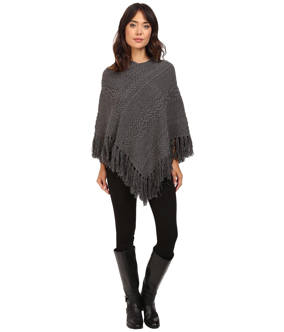 LAUREN Ralph Lauren - Aran Cable Poncho (Dark Grey Heather) Women's Long Sleeve Pullover