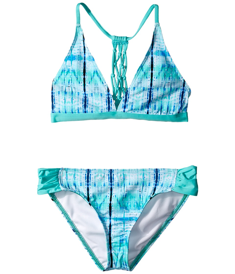 Ella Moss Girl - Boho Nuevo Halter Bra Tab Pant Bottom (Big Kids) (Aqua) Girl's Swimwear Sets