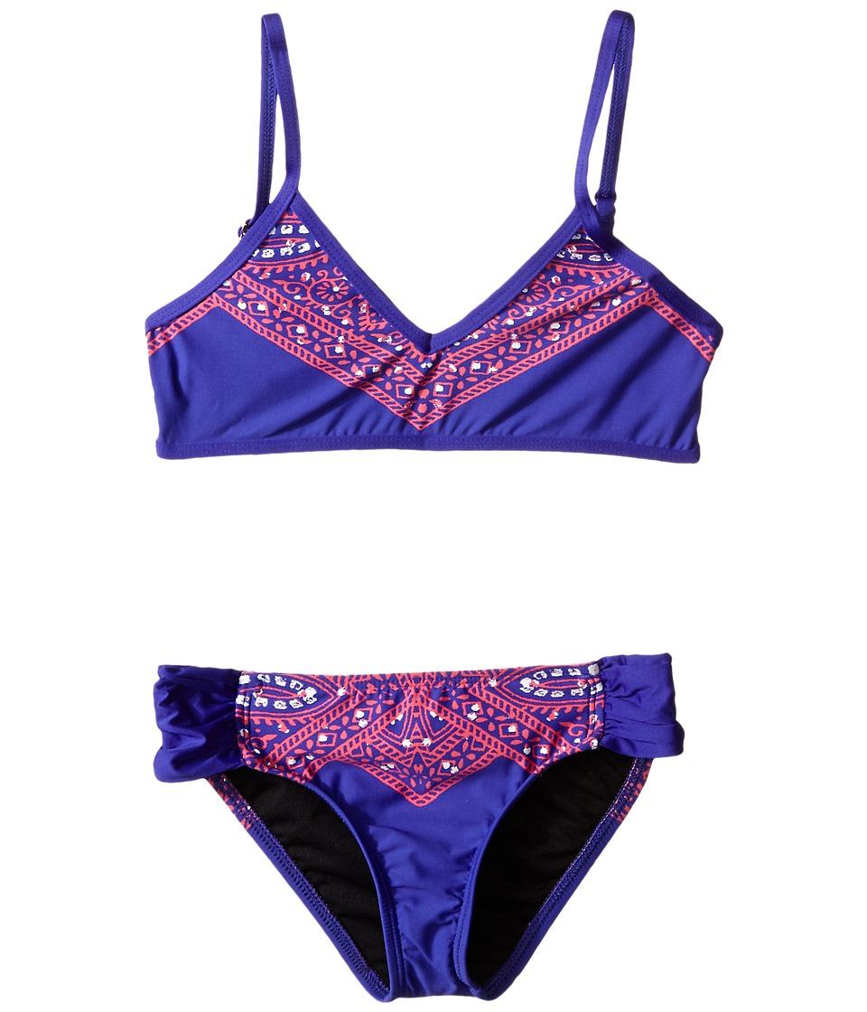 Ella Moss Girl - Fez Bralette Top with Tab Side Pant Bottom (Big Kids) (Purple) Girl's Swimwear Sets