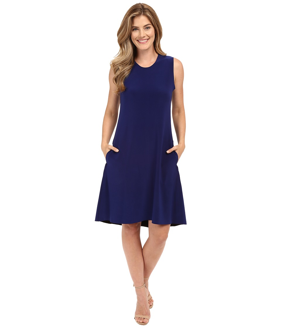 KAMALIKULTURE by Norma Kamali - Sleeveless Swing Dress Bonded (Blueberry) Women's Dress