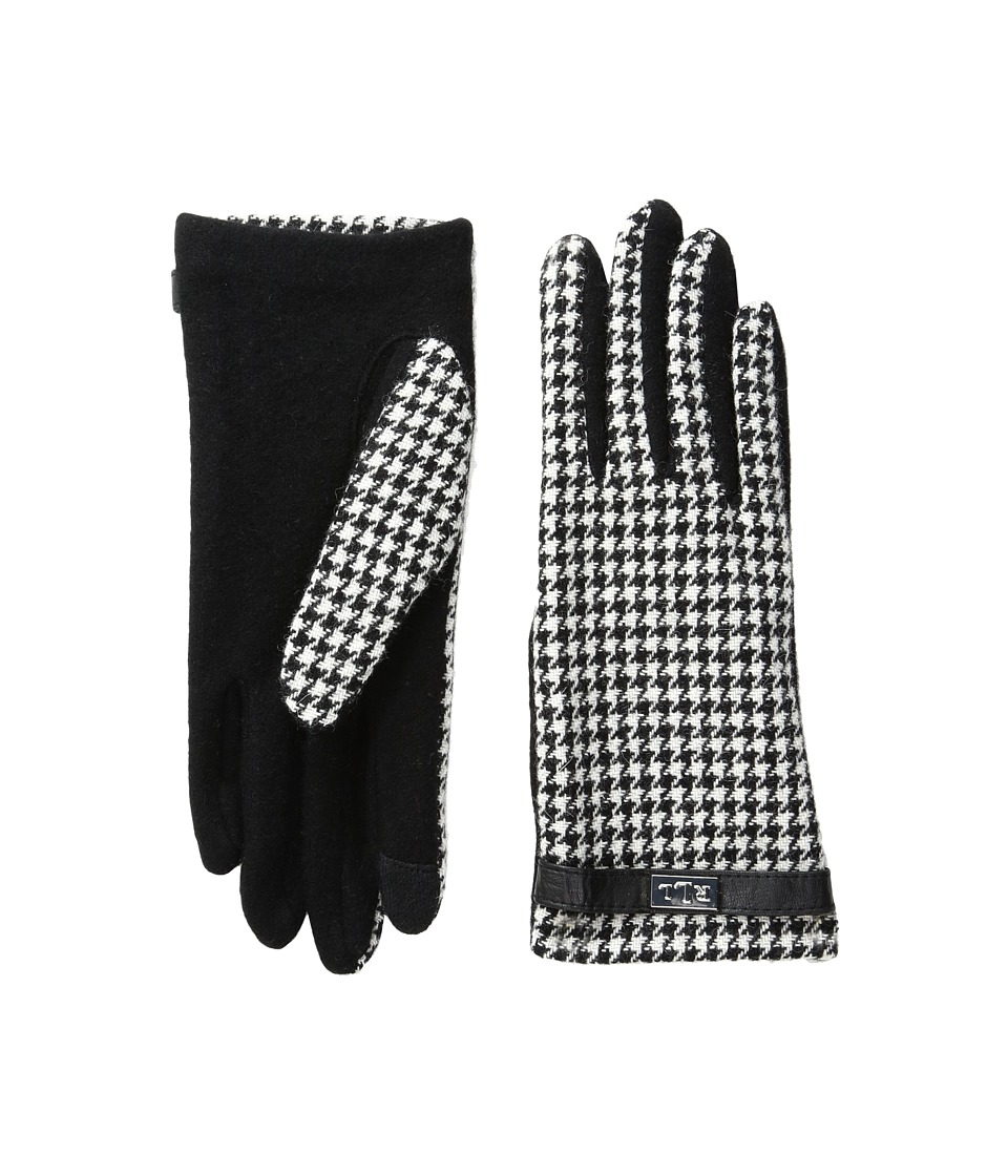 LAUREN Ralph Lauren - Menswear Pattern Metal Logo Touch Gloves (Black/Cream Houndstooth) Wool Gloves