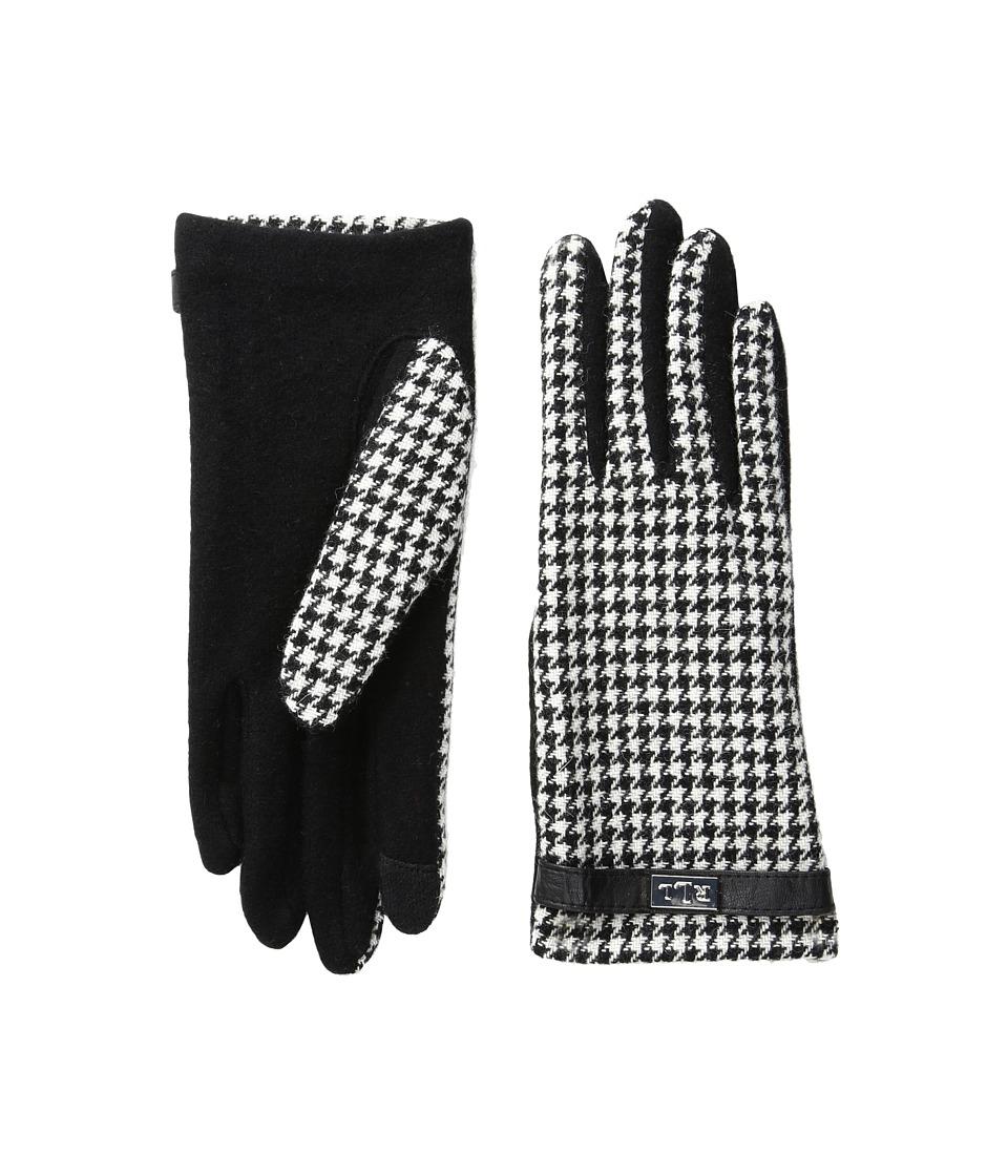 LAUREN Ralph Lauren - Menswear Pattern Metal Logo Touch Gloves (Black/Cream Houndstooth) Wool Gloves