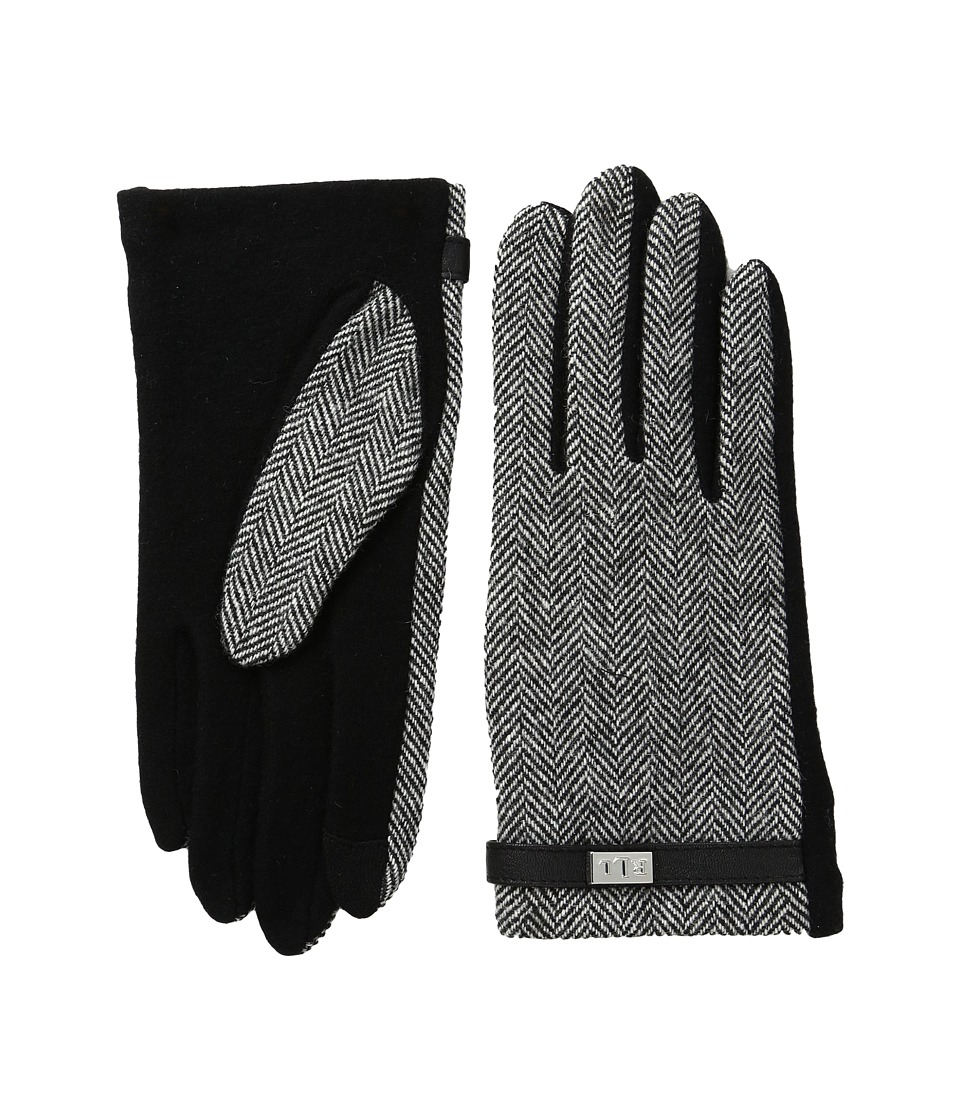 LAUREN Ralph Lauren Menswear Pattern Metal Logo Touch Gloves (Black/Cream Herringbone) Wool Gloves