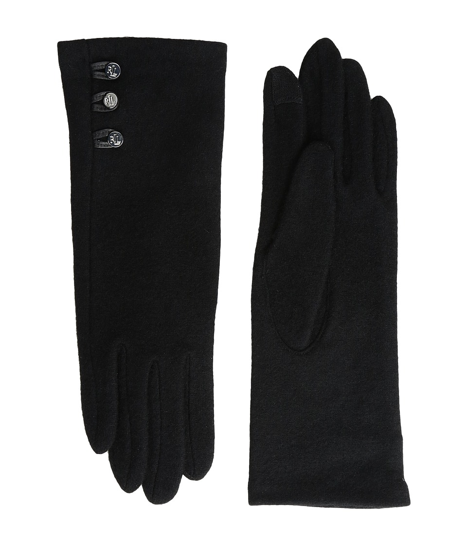 LAUREN Ralph Lauren Three-Button Touch Gloves (Black) Wool Gloves