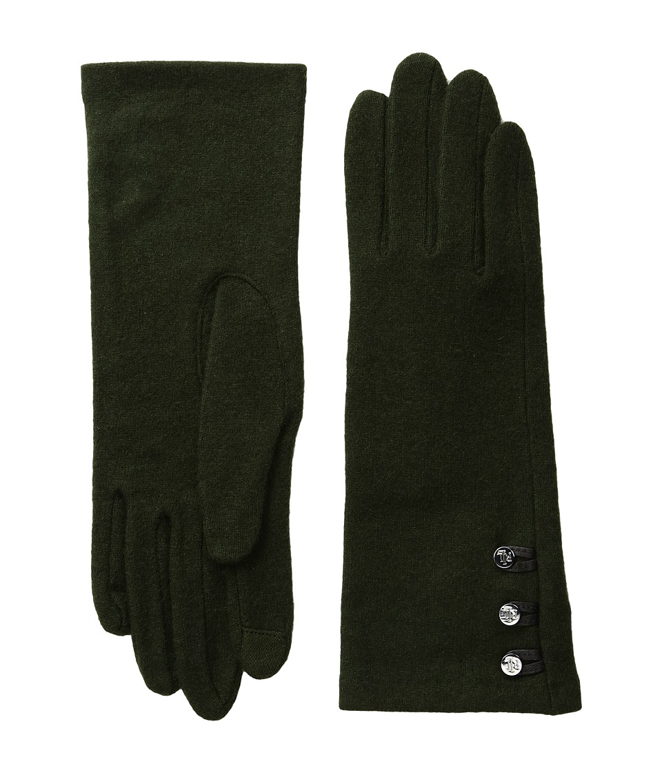 LAUREN Ralph Lauren - Three-Button Touch Gloves (Cypress Green) Wool Gloves