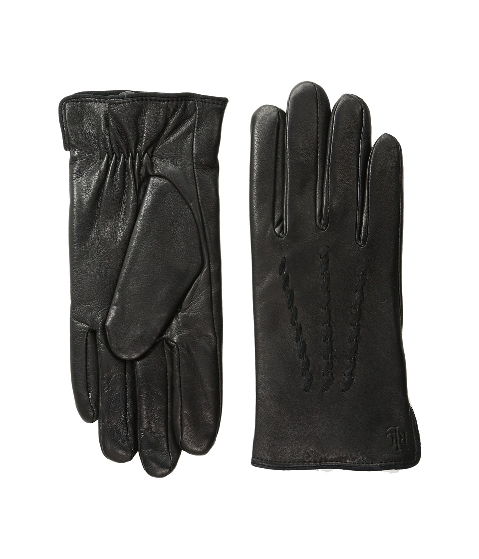LAUREN Ralph Lauren - Whip Stitch Points Thinsulate Gloves (Black/Black) Dress Gloves