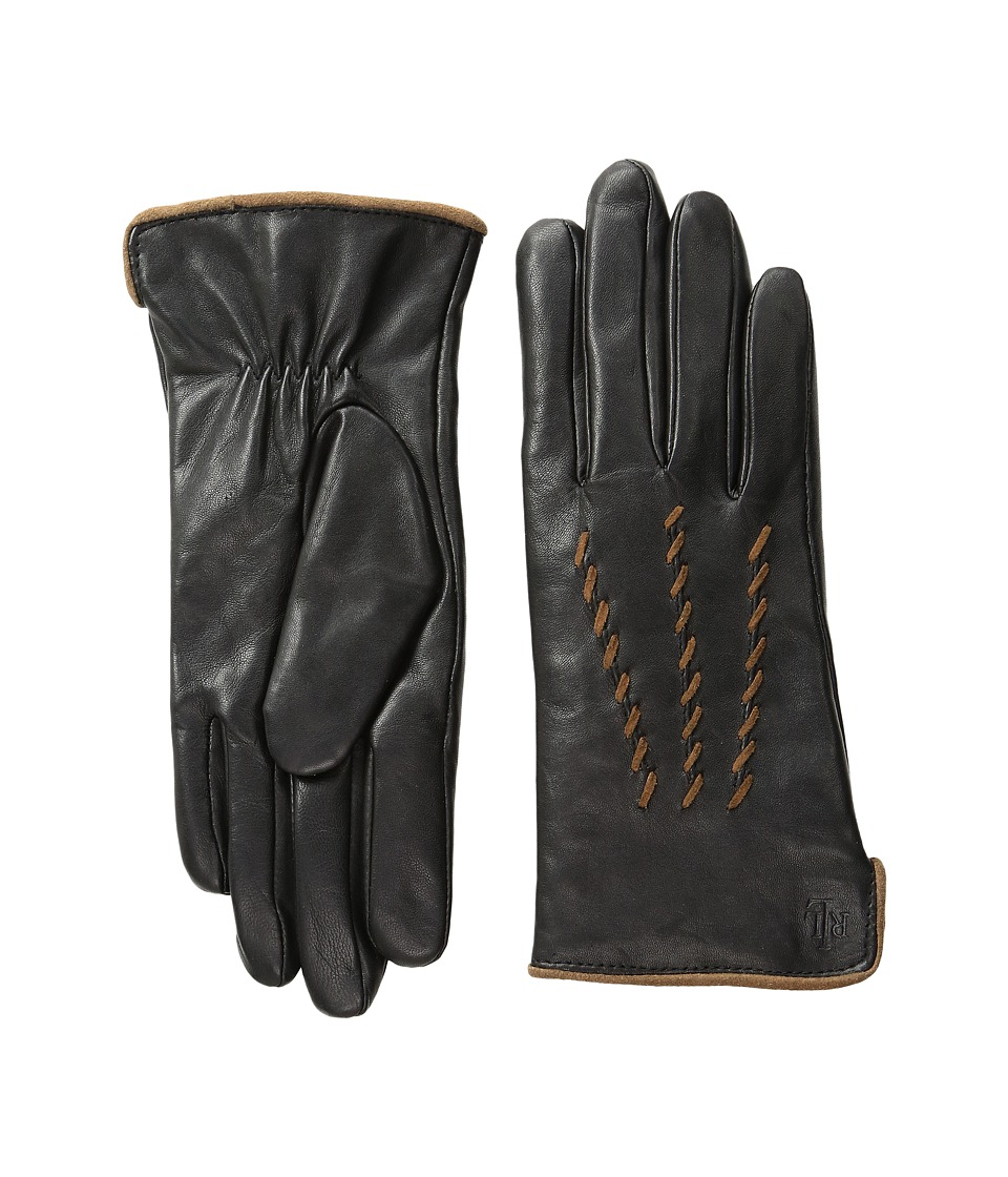 LAUREN Ralph Lauren - Whip Stitch Points Thinsulate Gloves (Black/Vintage Vachetta) Dress Gloves