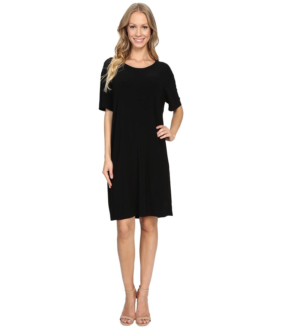 KAMALIKULTURE by Norma Kamali - Short Sleeve Box Tunic Dress (Black) Women's Dress