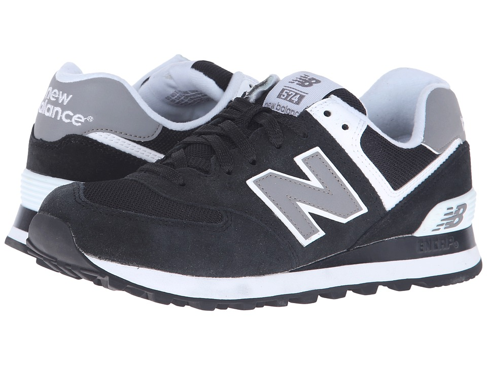 New Balance Classics - W574 (Black/White Suede Mesh) Women's Classic Shoes