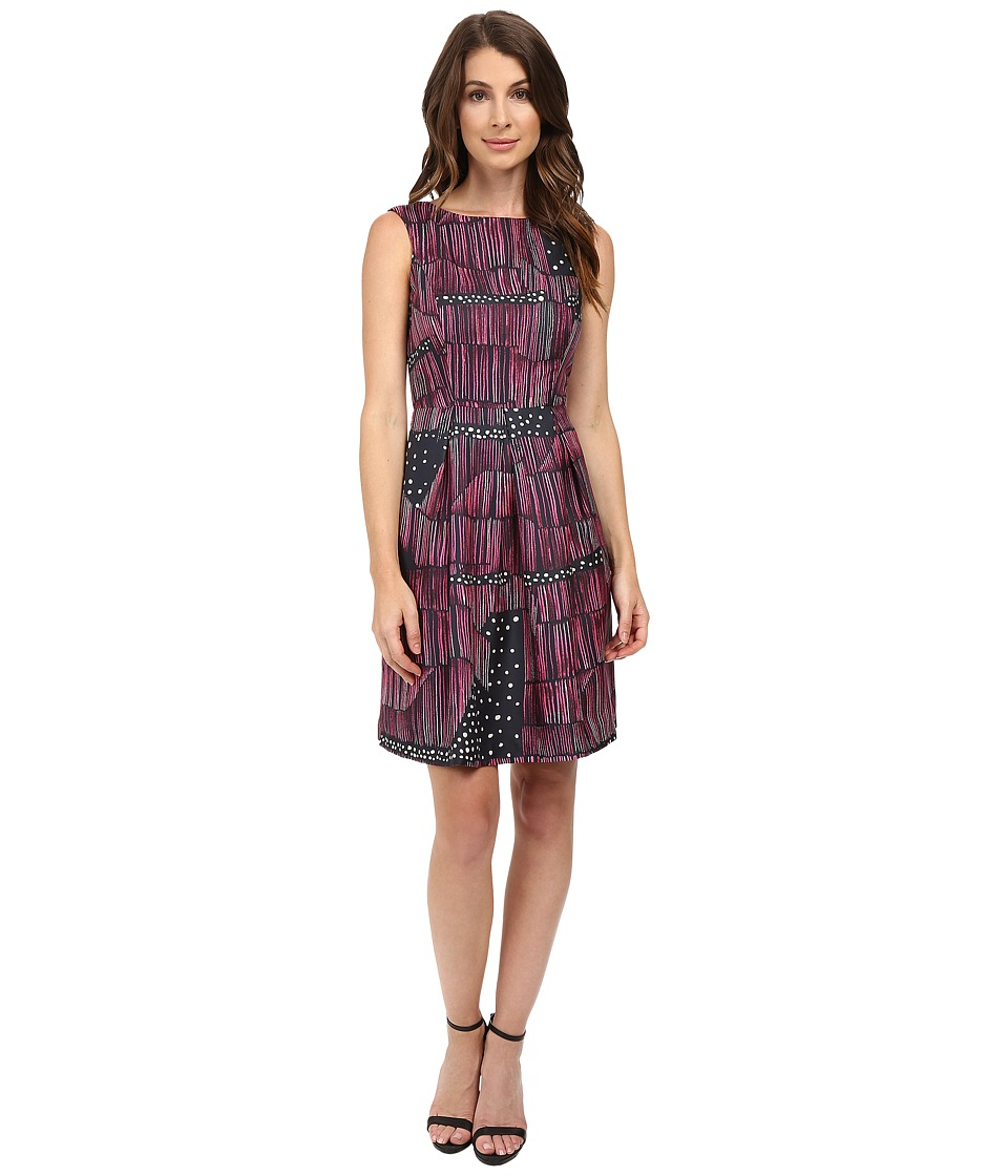 Donna Morgan - Box Pleat Poly Twill Fit and Flare Dress (Flux Multi) Women's Dress