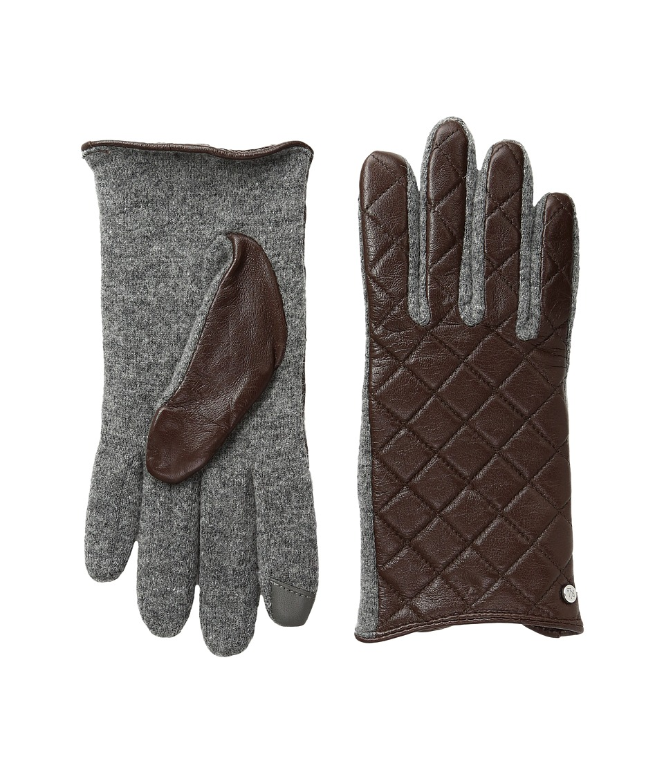 LAUREN Ralph Lauren - Quilted Hybrid Touch Gloves (Coffee) Dress Gloves