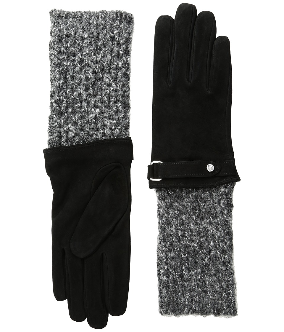 LAUREN Ralph Lauren - Knit Cuff Suede Gloves (Black/Black Heather) Dress Gloves