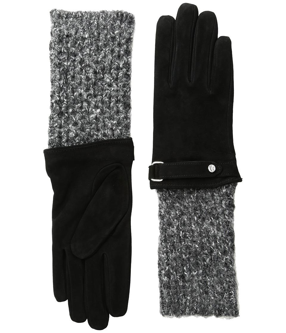 LAUREN Ralph Lauren - Knit Cuff Suede Gloves (Black/Black Heather) Dress Gloves