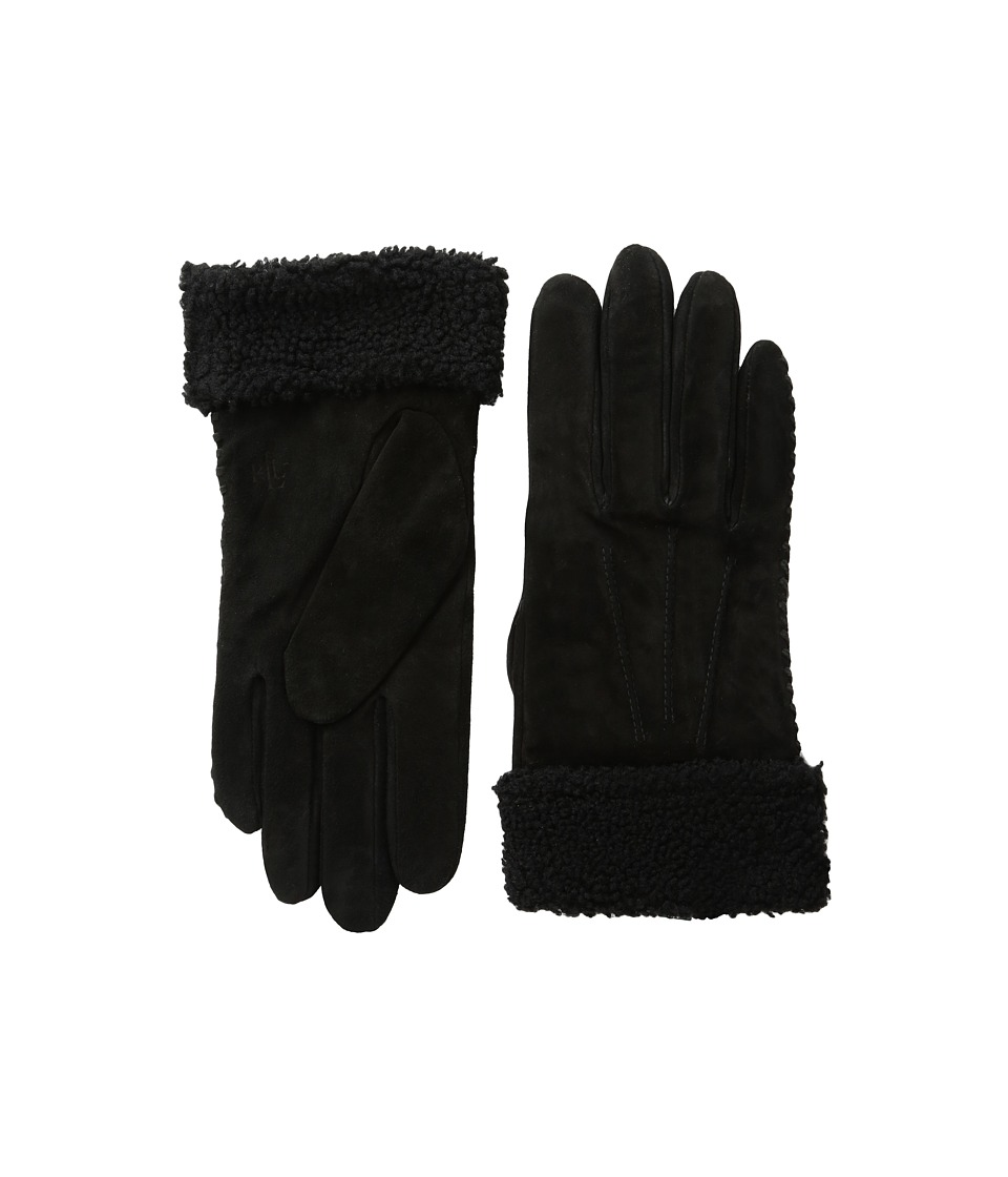 LAUREN Ralph Lauren - Suede Shearling Thinsulate Gloves (Black) Dress Gloves