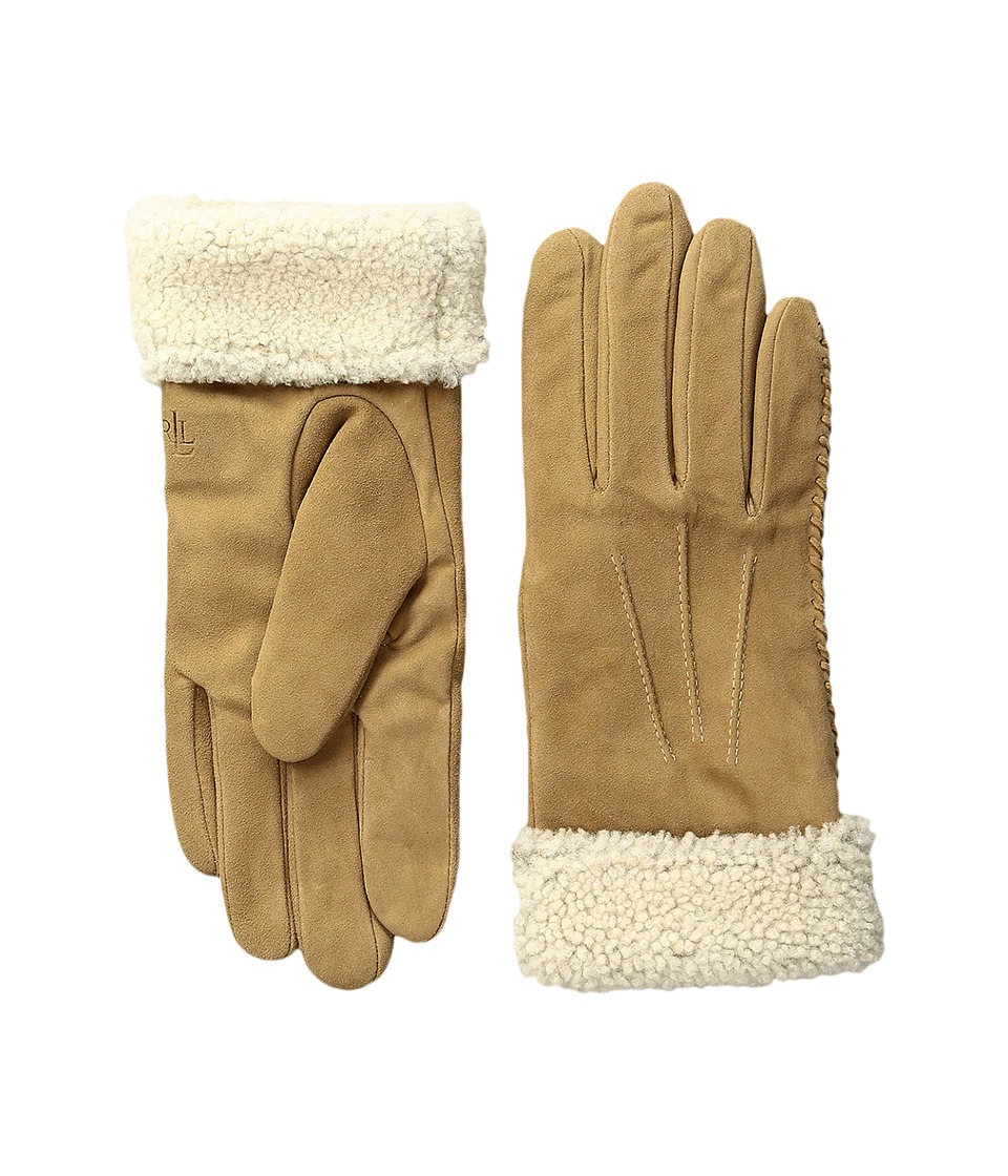 LAUREN Ralph Lauren - Suede Shearling Thinsulate Gloves (Canyon Taupe) Dress Gloves