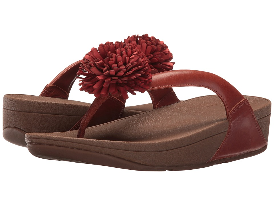 FitFlop Flowerball Leather Toe Post (Dark Tan) Women