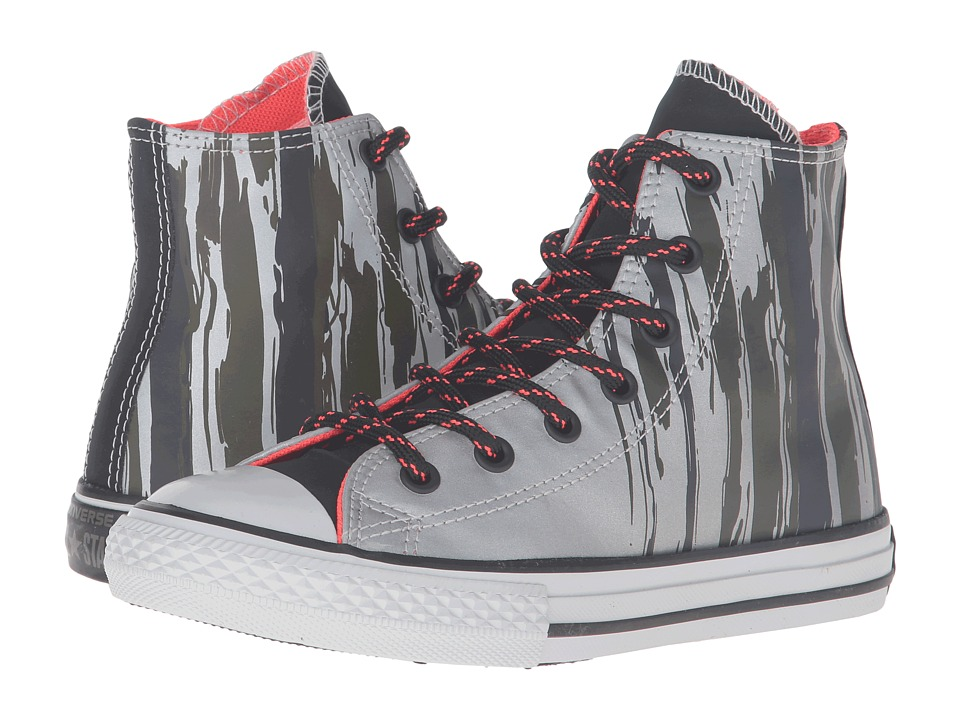 Converse Kids - Chuck Taylor All Star Reflective Hi (Little Kid/Big Kid) (Cadet Grey/Bright Crimson/Mouse) Boy's Shoes