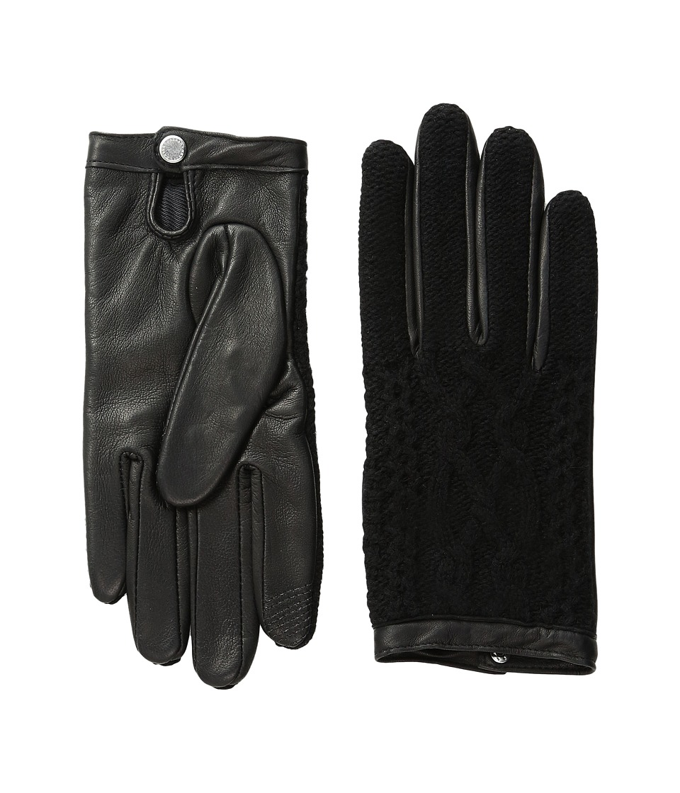 LAUREN Ralph Lauren - Aran Stitch Touch Gloves (Black/Black) Wool Gloves