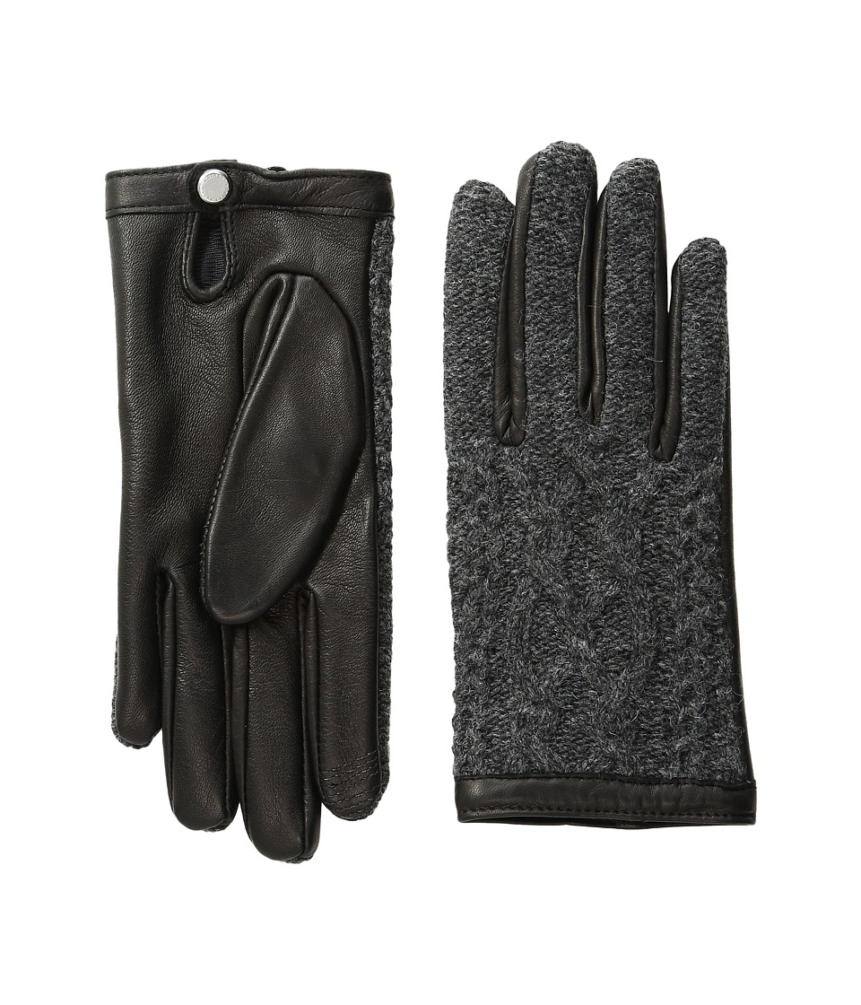 LAUREN Ralph Lauren - Aran Stitch Touch Gloves (Black/Charcoal) Wool Gloves