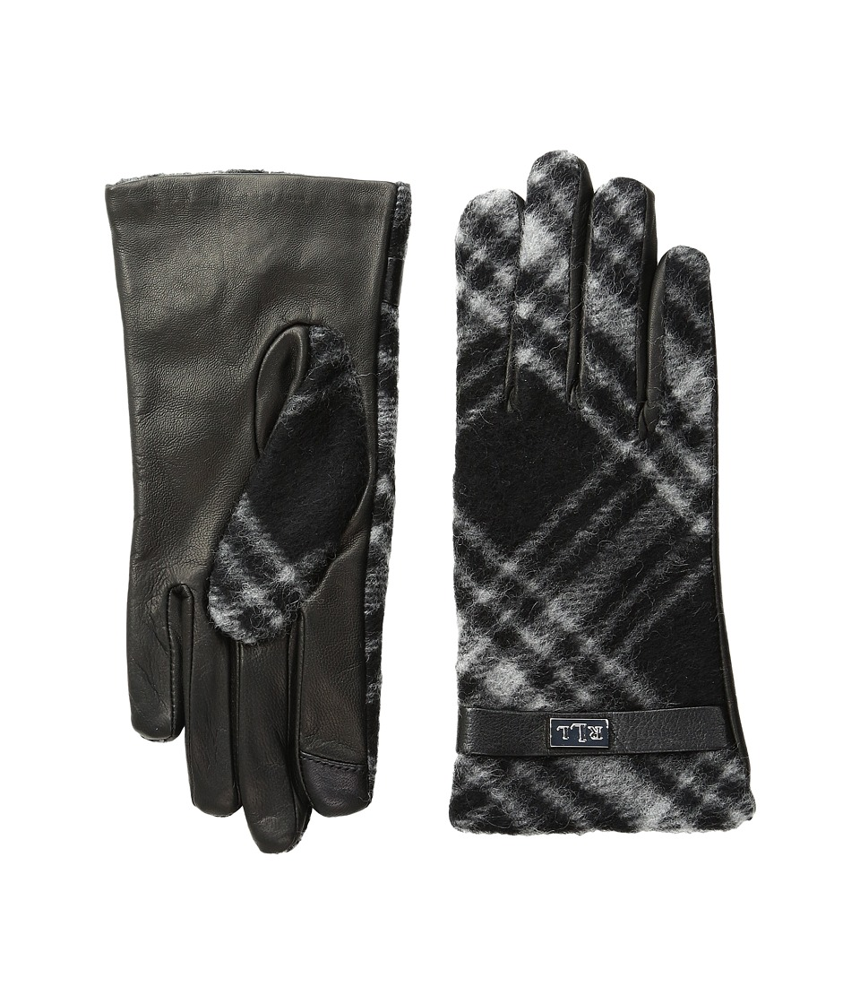 LAUREN Ralph Lauren - Brushed Tartan Logo Touch Gloves (Black/Grey Tartan) Wool Gloves