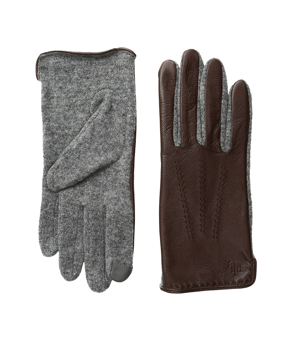 LAUREN Ralph Lauren - Color Stitch Hybrid Touch Gloves (Coffee/Black) Wool Gloves