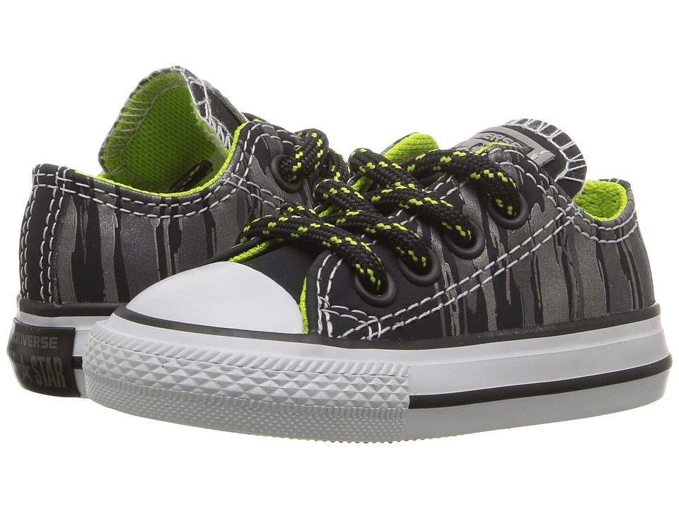 Converse Kids - Chuck Taylor All Star Reflective Ox (Infant/Toddler) (Black/Bold Lime/Mouse) Boy's Shoes