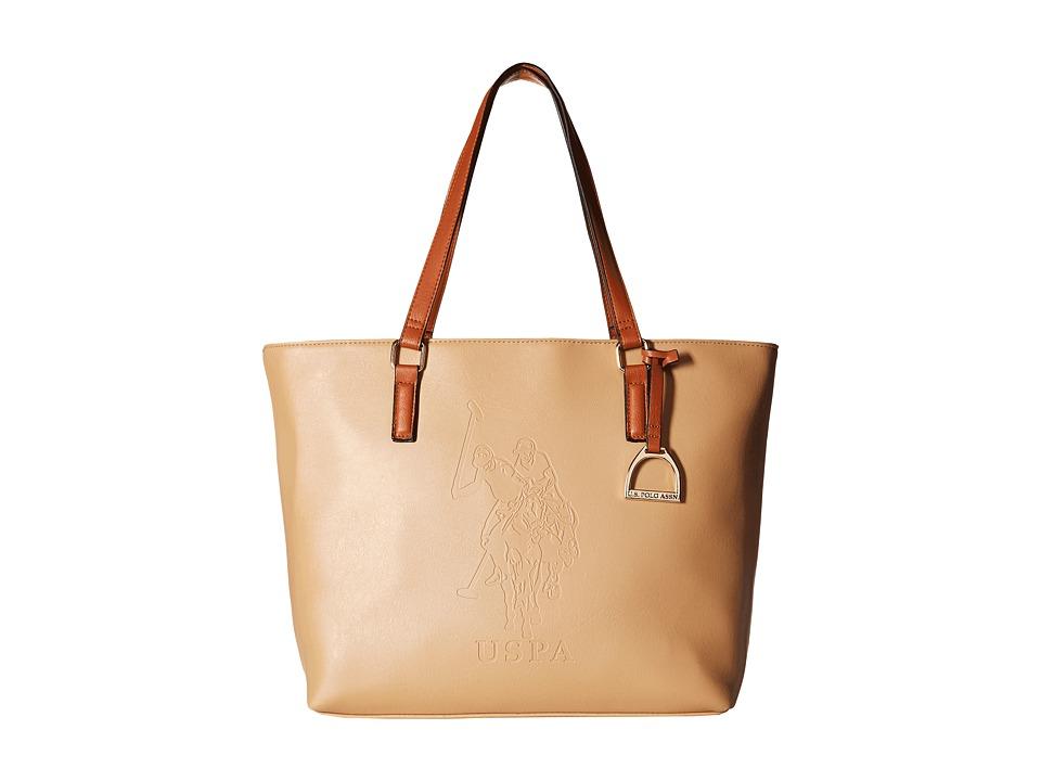 U.S. POLO ASSN. - Lia Embossed Tote (Beige) Tote Handbags