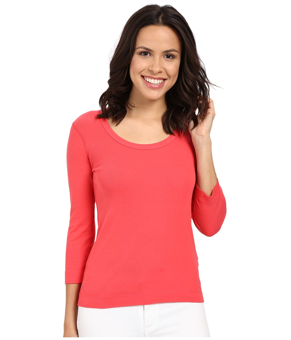 Three Dots - 3/4 Sleeve Scoop Neck (Pink Flash) Women's Long Sleeve Pullover