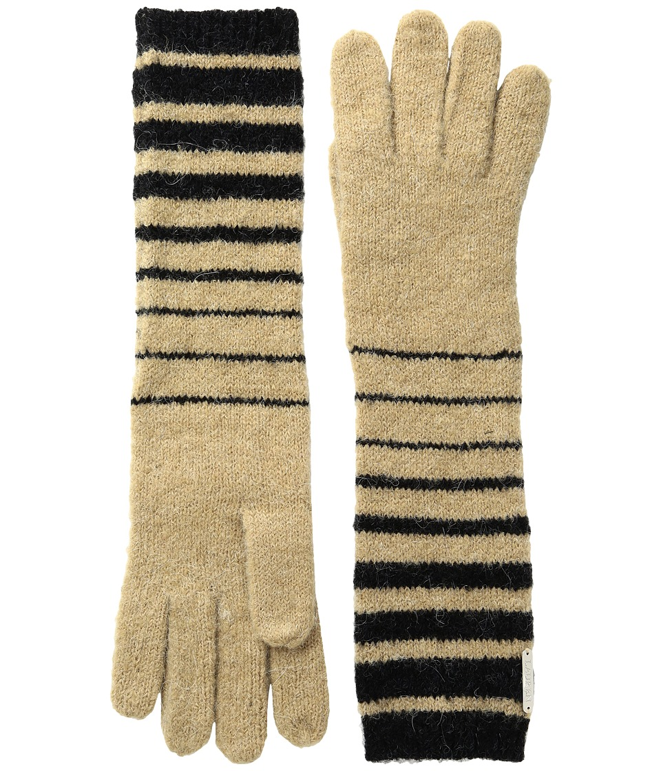 LAUREN Ralph Lauren Boiled Wool Striped Gloves (Black/Frontier Tan) Wool Gloves