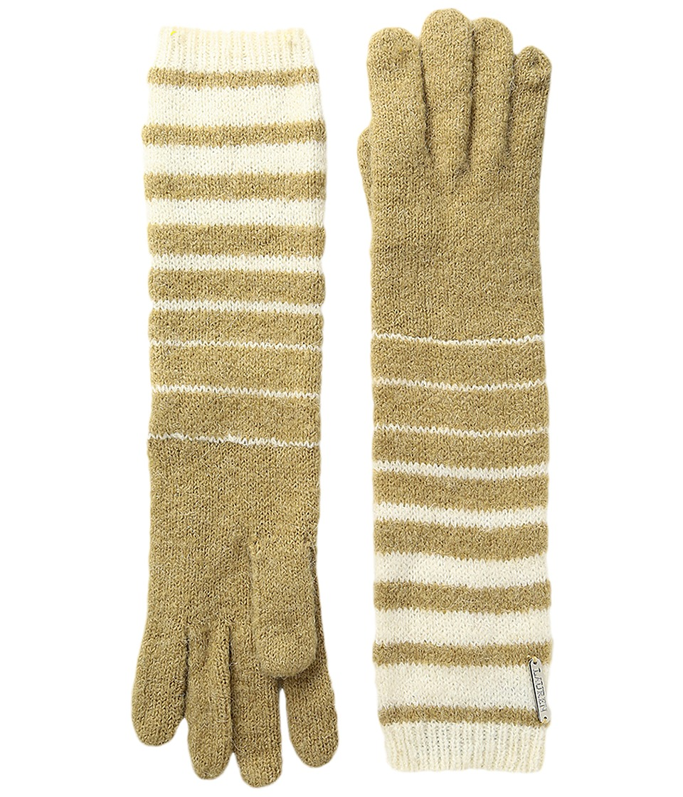 LAUREN Ralph Lauren - Boiled Wool Striped Gloves (Cream/Camel) Wool Gloves