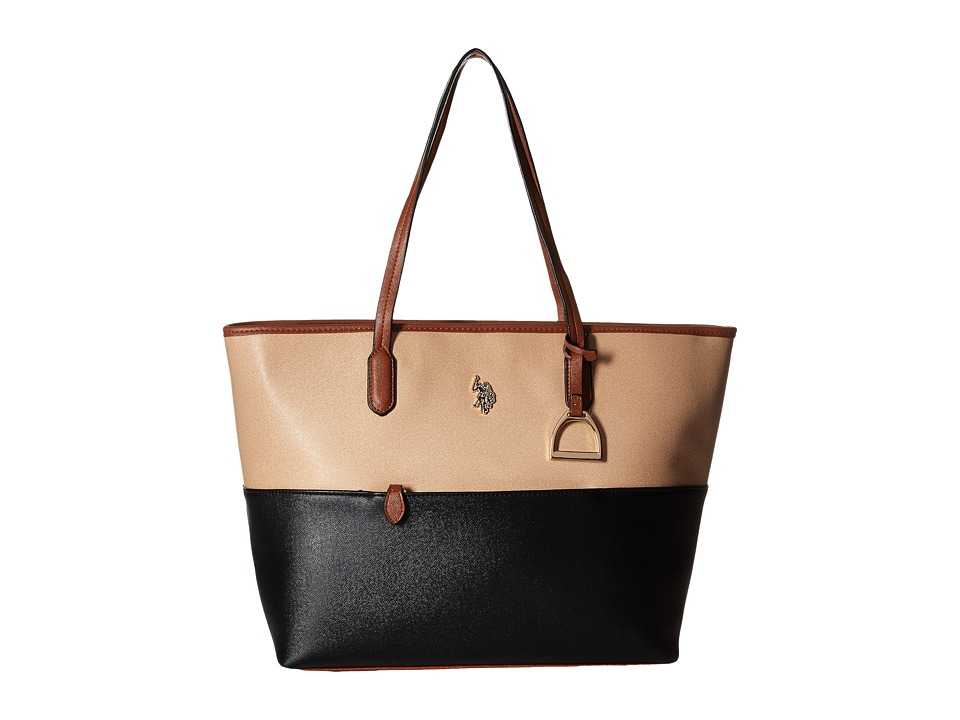 U.S. POLO ASSN. - Maiden Tote (Beige/Black) Tote Handbags