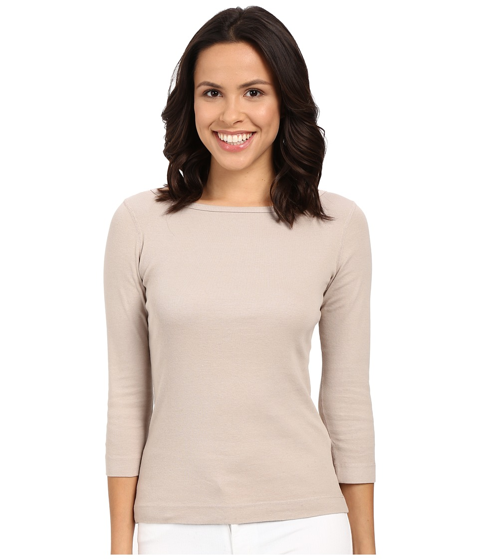 Three Dots - 3/4 Sleeve British Tee (Taupe Sand) Women's Long Sleeve Pullover