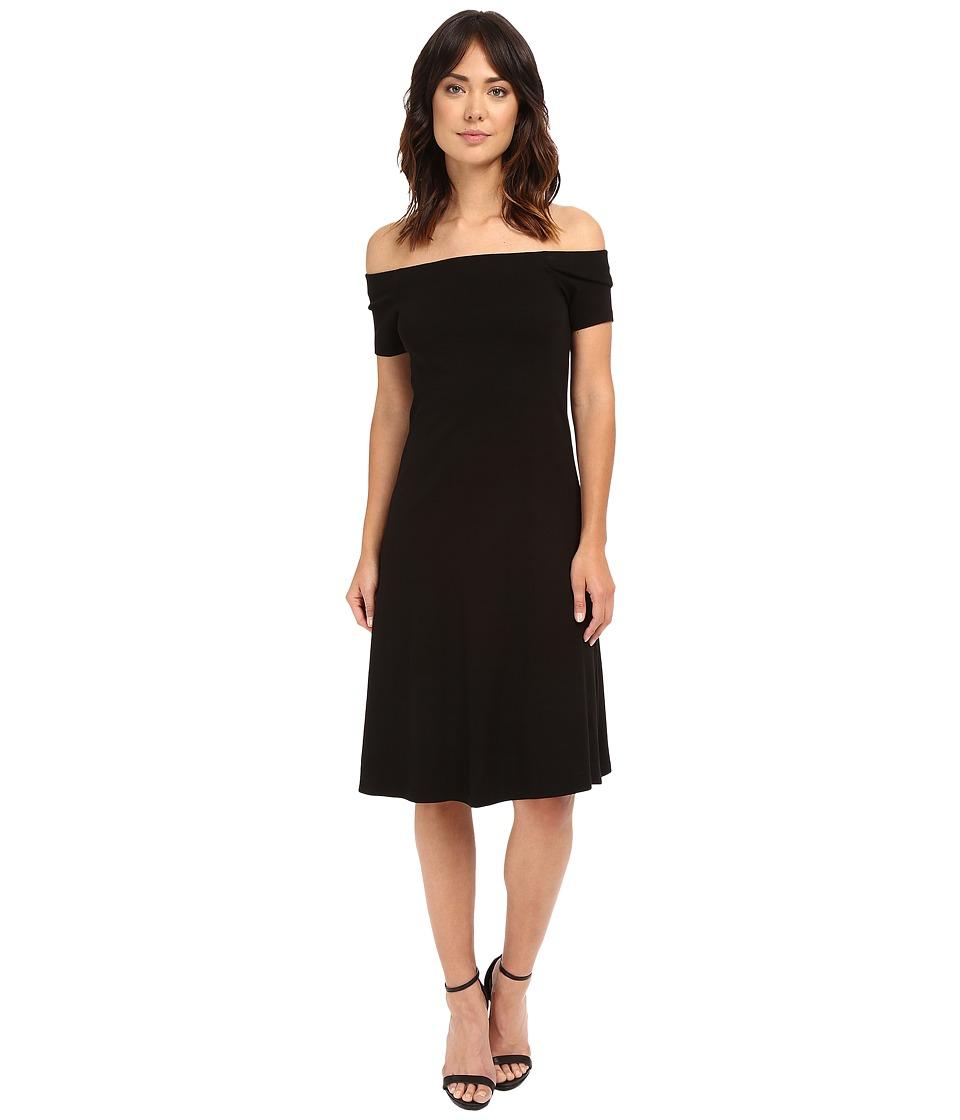 Three Dots Kailie Short Sleeve Off Shoulder Dress (Black) Women