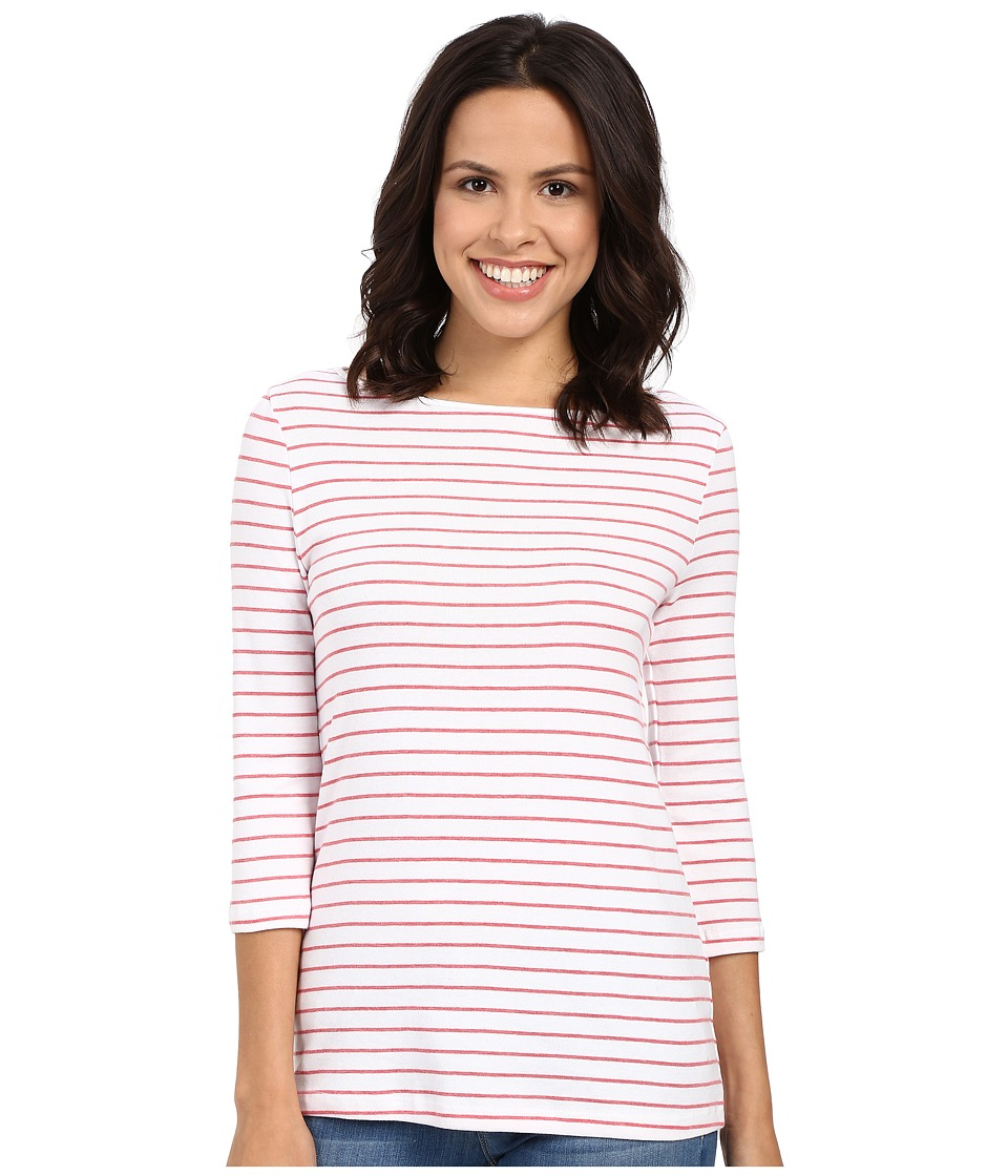 Three Dots - Betty Tunic 3/4 Sleeve (White/Red Combo) Women's Clothing
