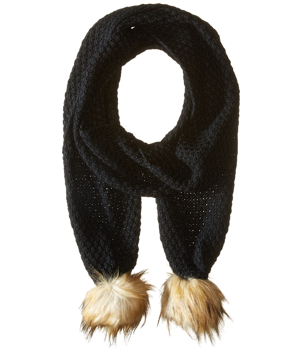 LAUREN Ralph Lauren - Moss Stitch Scarf w/ Faux Fur Pom (Black) Scarves