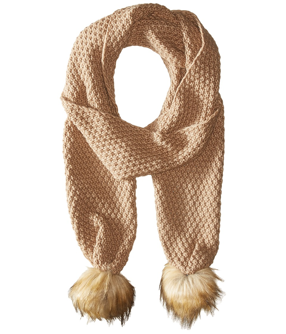 LAUREN Ralph Lauren - Moss Stitch Scarf w/ Faux Fur Pom (Camel) Scarves