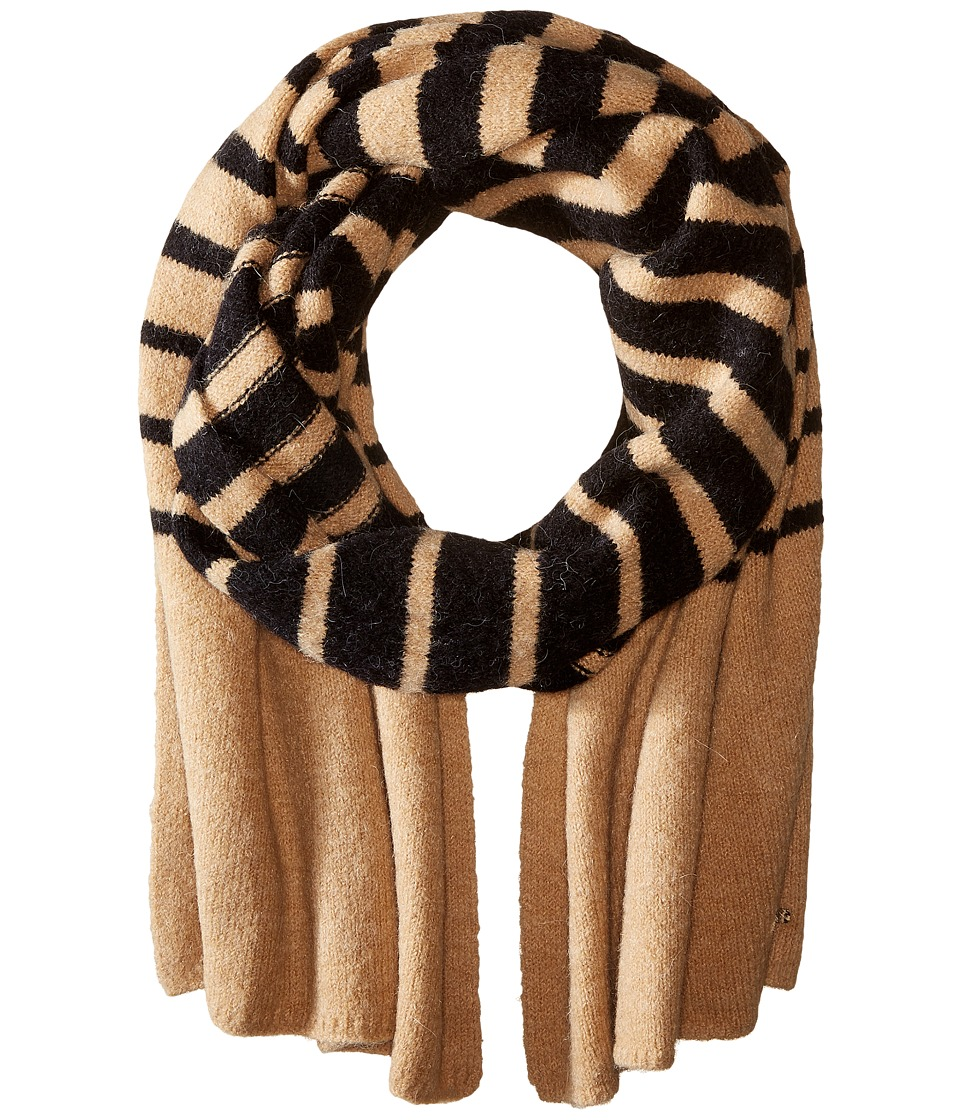 LAUREN Ralph Lauren - Boiled Wool Stripe Blanket Scarf (Black/Frontier Tan) Scarves